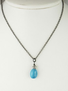 Silver & Turquoise Drop Necklace
