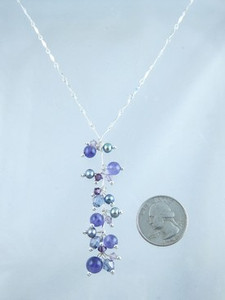 Sterling Silver Amethyst & Freshwater Pearl Beaded Necklace