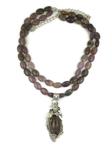 Sterling Silver Rutilated Quartz Necklace (NK727)