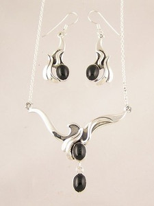 Sterling Silver Onyx Earring & Necklace Set