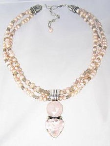Freshwater Pearl, Rose Quartz & Rhodochrosite Necklace, Earring & Bracelet Set