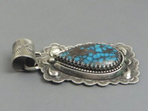 Natural Chinese Turquoise Pendant by Southwest Artist Les Baker