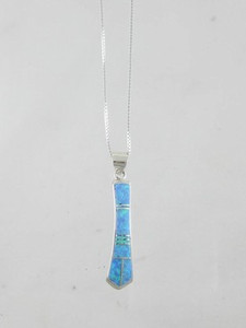 Sterling Silver Blue Opal Inlay Pendant