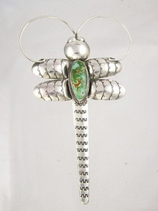 Natural Hi Lonesome Turquoise Gem Dragonfly Pin - Pendant