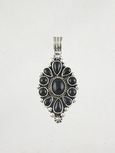 Sterling Silver Onyx Cluster Pendant (PD2169)