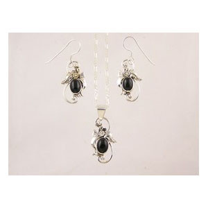 Sterling Silver Onyx Earring & Pendant Set
