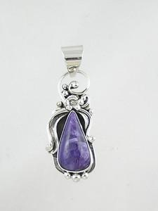 Sterling Silver Charoite Pendant (PD2253)