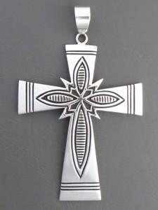 Sterling Silver Overlay Cross Pendant by Steven Begay