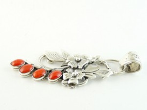 Sterling Silver Mediterranean Coral Pendant by Southwest Artist Les Baker (PD2765C)