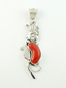 Sterling Silver Mediterranean Coral Pendant by Southwest Artist Les Baker (PD2766)