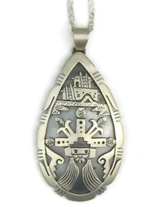 Sterling Silver Shalako Pendant by Freddy Charley, Navajo Indian Jewelry
