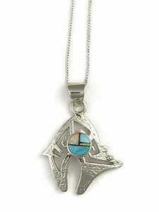 Sleeping Beauty Turquoise, Jet & Opal Inlay Bear Pendant