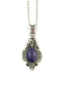 Sterling Silver Sugilite Pendant by Fritson Toledo, Navajo