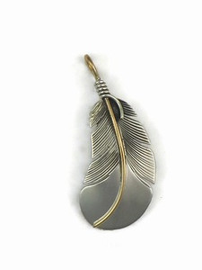 12k Gold & Sterling Silver Feather Pendant (PD5003)