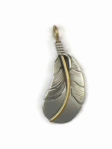 12k Gold & Sterling Silver Feather Pendant by Lena Platero, Navajo (PD5005)