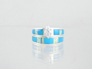 Turquoise & Opal Inlay Wedding Band Ring Set with Marquis CZ Size 6 1/2