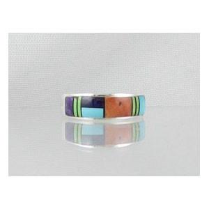 Multi Gemstone Inlay Ring Size 8