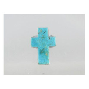 Sterling Silver Turquoise Cross Ring Size 8 - Adjustable (RG0520)