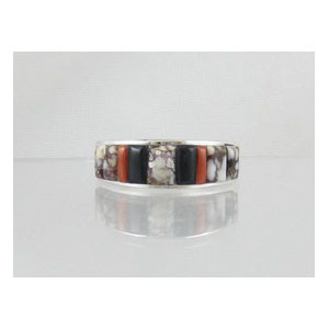 Magnesite, Jet & Coral Inlay Ring Size 11 1/2