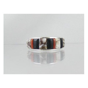 Magnesite, Jet & Coral Inlay Ring Size 8