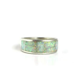 Sterling Silver Opal Inlay Ring Size 11