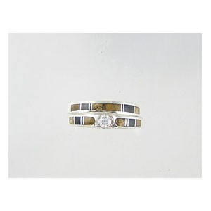 Tiger Eye, Jet & Jasper Inlay Band Ring Set with CZ Size 5