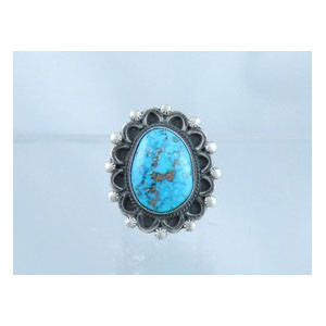 Natural Pilot Mountain Turquoise Ring Size 9 1/2 - Calvin Martinez