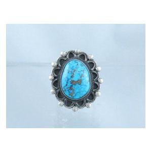 Natural Pilot Mountain Turquoise Ring Size 9 1/2 - Calvin Martinez