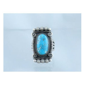 Natural Pilot Mountain Turquoise Gem Ring Size 8 - Calvin Martinez