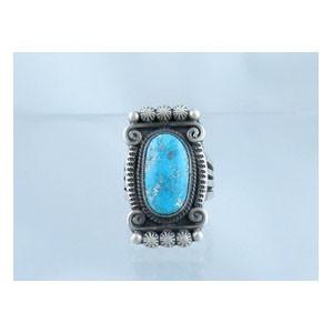 Natural Pilot Mountain Turquoise Gem Ring Size 8 - Calvin Martinez