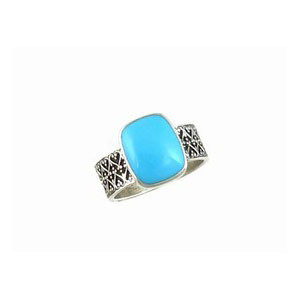 Sterling Silver Sleeping Beauty Turquoise Ring Size 7 1/2 (RG0850-S7.5)