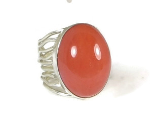 Sterling Silver Cherry Quartz Branch Wire Ring Size 6 1/2