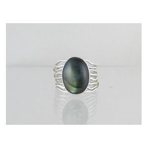 Sterling Silver Labadorite Branch Wire Ring Size 9 1/2