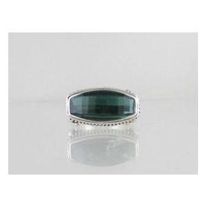 Sterling Silver Green Quartz Ring Size 8 1/2