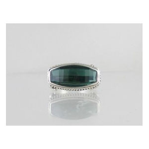 Sterling Silver Green Quartz Ring Size 8 1/2