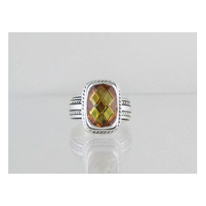Sterling Silver Solar Flare Topaz Ring Size 8 1/2