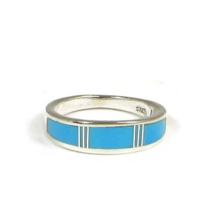 Sleeping Beauty Turquoise Inlay Ring Size 8