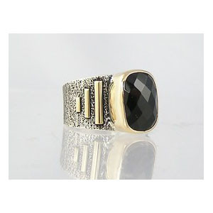 14k Gold & Silver Faceted Onyx Ring Size 7