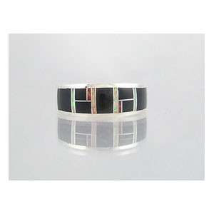 Jet, Opal & Coral Inlay Ring Size 13