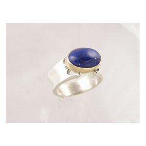 14k Gold & Silver Lapis Ring Size 8 1/2 (RG1257-S8)