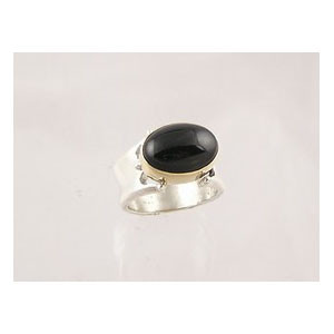 14k Gold & Silver Onyx Ring Size 5 1/2 (RG1257-S5)