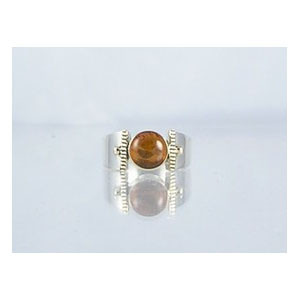 14k Gold & Silver Amber Ring Size 7 1/2