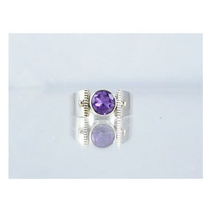 14k Gold & Silver Amethyst Ring Size 9
