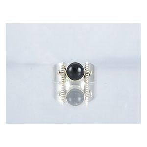 14k Gold & Silver Onyx Ring Size 8 1/2 (RG1705-G24)