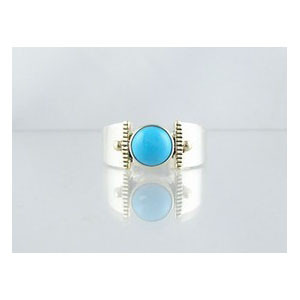 14k Gold & Silver Turquoise Ring Size 9 (RG1705-G33)