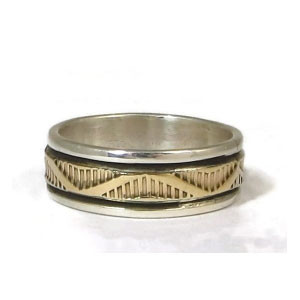 14k Gold Sterling Silver Band Ring Size 10 by Navajo Indian Bruce Morgan