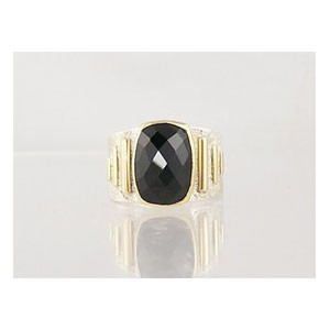 14k Gold & Silver Faceted Onyx Ring Size 8 3/4
