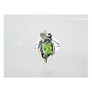 Sterling Silver Peridot Ring Size 6