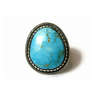 Sterling Silver Blue Ridge Turquoise Ring Size 12 by Leon Martinez, Navajo (RG2463)