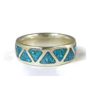 Turquoise Chip Inlay Band Ring Size 9